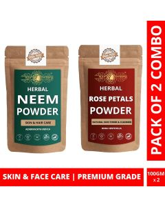Ayur Blessing Neem and Rose Petals Powder Skin Care Products Combo, Face Pack, Skin Care (100 Gram * 2)