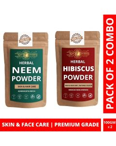 Ayur Blessing Neem and Hibiscus Powder Skin Care Products Combo, Face Pack, Skin Care (100 Gram * 2)
