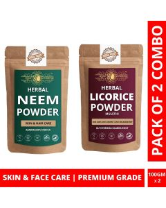 Ayur Blessing Neem and Licorice Powder Skin Care Products Combo, Face Pack, Skin Care (100 Gram * 2)