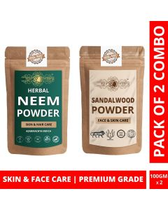 Ayur Blessing Neem and Chandan Powder Skin Care Products Combo, Face Pack, Skin Care (100 Gram * 2)