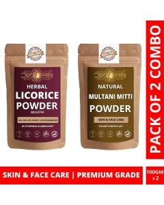 Ayur Blessing Licorice and Multani Mitti Powder Skin Care Products Combo, Face Pack, Skin Care (100 Gram * 2)