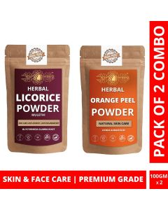 Ayur Blessing Licorice and Orange Peel Powder Skin Care Products Combo, Face Pack, Skin Care (100 Gram * 2)