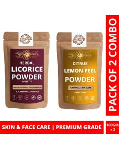 Ayur Blessing Licorice and Lemon Peel Powder Skin Care Products Combo, Face Pack, Skin Care (100 Gram * 2)