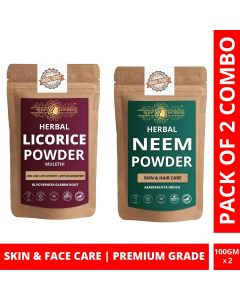 Ayur Blessing Licorice and Neem Powder Skin Care Products Combo, Face Pack, Skin Care (100 Gram * 2)