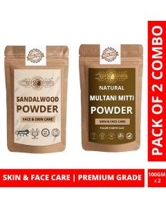 Ayur Blessing Chandan and Multani Mitti Powder Skin Care Products Combo, Face Pack, Skin Care (100 Gram * 2)