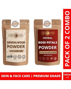 Ayur Blessing Chandan and Rose Petals Powder Skin Care Products Combo, Face Pack, Skin Care (100 Gram * 2)