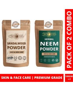 Ayur Blessing Chandan and Neem Powder Skin Care Products Combo, Face Pack, Skin Care (100 Gram * 2)