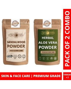 Ayur Blessing Chandan and Aloe Vera Leaf Powder Skin Care Products Combo, Face Pack, Skin Care (100 Gram * 2)