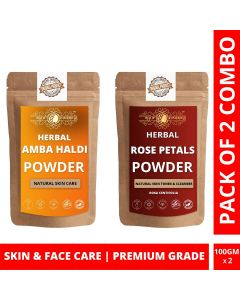 Ayur Blessing Amba Haldi and Rose Petals Powder Skin Care Products Combo, Face Pack, Skin Care (100 Gram * 2)