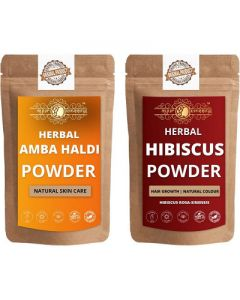 Ayur Blessing Amba Haldi and Hibiscus Powder Skin Care Products Combo, Face Pack, Skin Care (100 Gram * 2)