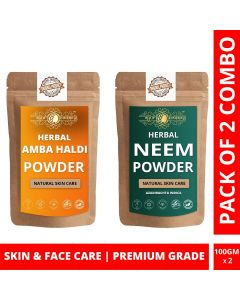 Ayur Blessing Amba Haldi and Neem Powder Skin Care Products Combo, Face Pack, Skin Care (100 Gram * 2)