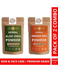 Ayur Blessing Aloe Vera Leaf and Orange Peel Powder Skin Care Products Combo, Face Pack, Skin Care (100 Gram * 2)