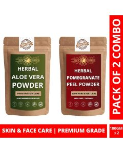 Ayur Blessing Aloe Vera Leaf and Pomegranate Peel Powder Skin Care Products Combo, Face Pack, Skin Care (100 Gram * 2)