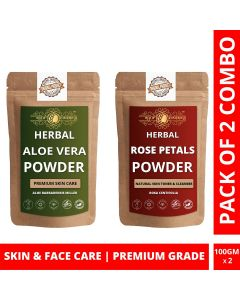 Ayur Blessing Aloe Vera Leaf and Rose Petals Powder Skin Care Products Combo, Face Pack, Skin Care (100 Gram * 2)
