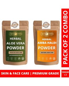 Ayur Blessing Aloe Vera Leaf and Multani Mitti Powder Skin Care Products Combo, Face Pack, Skin Care (100 Gram * 2)