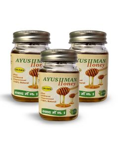 Ayushman Honey (Raw, Unfiltered, Unprocessed, 100% Natural) - 150g (Pack of 3)
