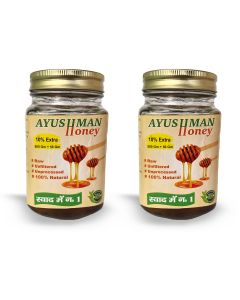 Ayushman Honey (Raw, Unfiltered, Unprocessed, 100% Natural) - 500g + 50 g Free (Pack of 2)