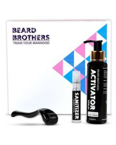 Beard Brothers Beard Growth Revolution | Activator Serum with Aloe Vera + Argan oil, Beard Roller - 540 Titanium needles, Cleaner - for Beard Roller