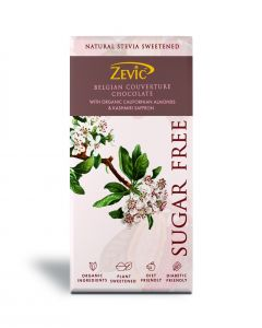 Zevic Belgian Couverture Chocolate with Organic Californian Almonds and Kashmiri Saffron - 90 gm