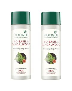 Biotique Bio Basil and Sandalwood Refreshing Body Powder - 150g (Pack of 2)