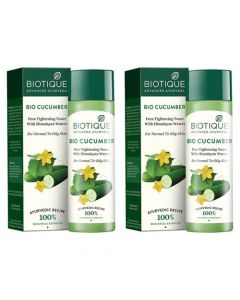 Biotique Bio Cucumber Pore Tightening Toner - 120ml (Pack of 2)