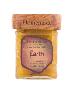 The Earth Reserve All Natural Bird's Eye Chilli in Raw Mango, Sweet & Spicy Pickle - 300 gm