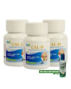 Liwo Cal- D (Herbal Joint Care Supplement) - 30 Caps With 1 Liwo Health Sanitizer 100ml Free (Pack of 3)