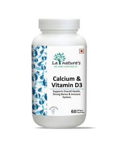 La Nature's Calcium & Vitamin D3 for Teeth, Bones, Joints, Immunity Booster - 60 Soft Gel Capsules