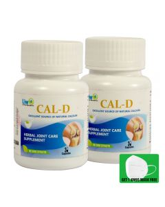 Liwo Cal- D (Herbal Joint Care Supplement) - 30 Caps With 1 KN95 Mask Free (Pack of 2)
