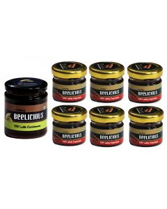 Beelicious Honey with Cardamom - 1x250 grams + Honey with Cinnamon - 6x30 grams Each