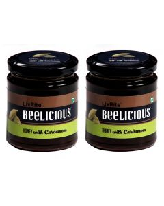 Beelicious Honey with Cardamom - 250 grams (Pack of 2)