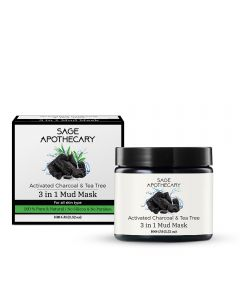 Sage Apothecary Activated Charcoal & Tea Tree 3 in 1 Mud Mask - 100gm