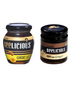 Beelicious Classic Premium Honey - 250 gms & Honey with Ginger - 250 gms
