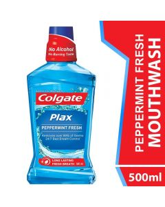 Colgate Mouthwash Plax Pepper Mint Alcohol Free 500ml