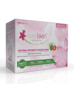 everteen Feminine Intimate Hygiene Wipes for Women - 1 Pack (15 Individually Wrapped Wipes)