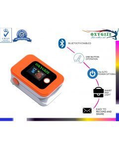 OXYGIZE Bluetooth Fingertip Pulse Oximeter Blood Oxygen Saturation Monitor and Pulse Rate Monitor for Apple and Android (Orange, Small)
