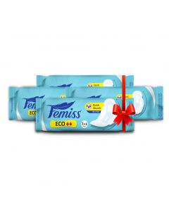 Femiss Dry Feel Day Sanitary Pad - ECO Regular,Pack Of 4 (Each -8 Pads)