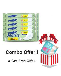 Femiss Dry Feel Over Night Sanitary Pad - ECO+ Extra Large,Pack Of 5 (Each -8 Pads) + Prep Razor (FREE GIFT)