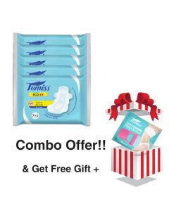 Femiss Dry Feel Over Night Sanitary Pad - ECO Extra Large,Pack Of 5 (Each -8 Pads) + Prep Razor (FREE GIFT)