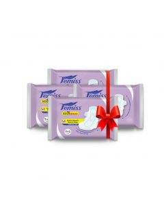 Femiss Super Soft Over Night Sanitary Pad - ECO++ Extra Large,Pack Of 4 (Each -8 Pads)