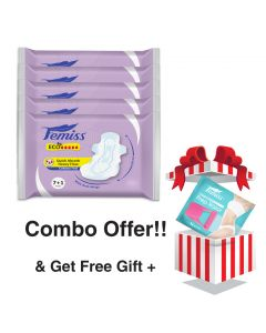 Femiss Super Soft Over Night Sanitary Pad - ECO++ Extra Large,Pack Of 5 (Each -8 Pads) + Prep Razor (FREE GIFT)