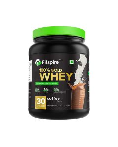 Fitspire 100% Gold Standard Whey Protein Isolate | No Added Sugar, Low Carbs, Zero Cholesterol & Gluten Free | 1 Kg | Coffee