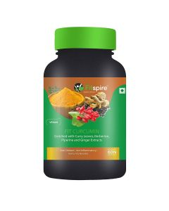 Fitspire Fit Curcumin | Enriched With Curry Leaves, Berberine, Piperine & Ginger Extracts - 60 Capsules