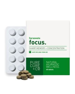 PURECURE+CO Focus For Memory And Concentration, Ayurvedic Saraswata 500 Mg - 60 Tablets