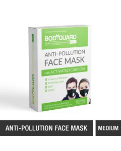 BodyGuard Reusable Anti Pollution Face Mask with Activated Carbon, N99 + PM2.5 for Men and Women - Medium