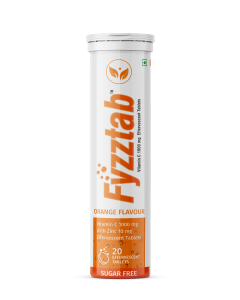 Fyzztab Vitamin C and Zinc, Effervescent tablets, Immunity booster, Orange flavour (Pack of 20)