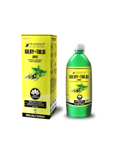 Dr. Vaidya's Giloy and Tulsi Juice - Supports Immunity , Skin & Digestion (1 LTR) - Vegetarian , Zero Added Sugar