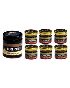 Beelicious Honey with Ginger - 1x250 grams + Honey with Cinnamon - 6x30 grams Each