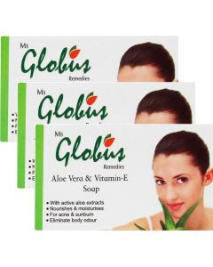 Globus Aloe Vera Vitamine-E & Milk Cream Soap Pack of 3