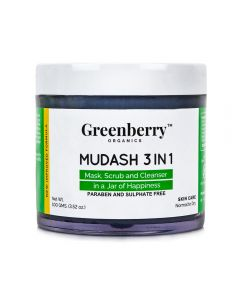 Greenberry Organics Mudash 3-in-1 Face Care - Scrub, Mask & Cleanser 100g